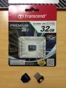 お買い物♪ トランセンドの microSDHC 32GB Class 10, UHS-1、iBUFFALO の極小 USB アダプタで MacBook Air の容量アップ
