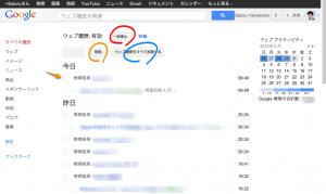 Google検索履歴の一覧