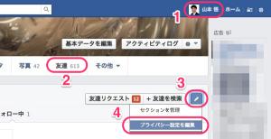 Facebook友達リストの公開範囲を狭める1