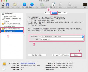 Mac OS XでHDDの消去
