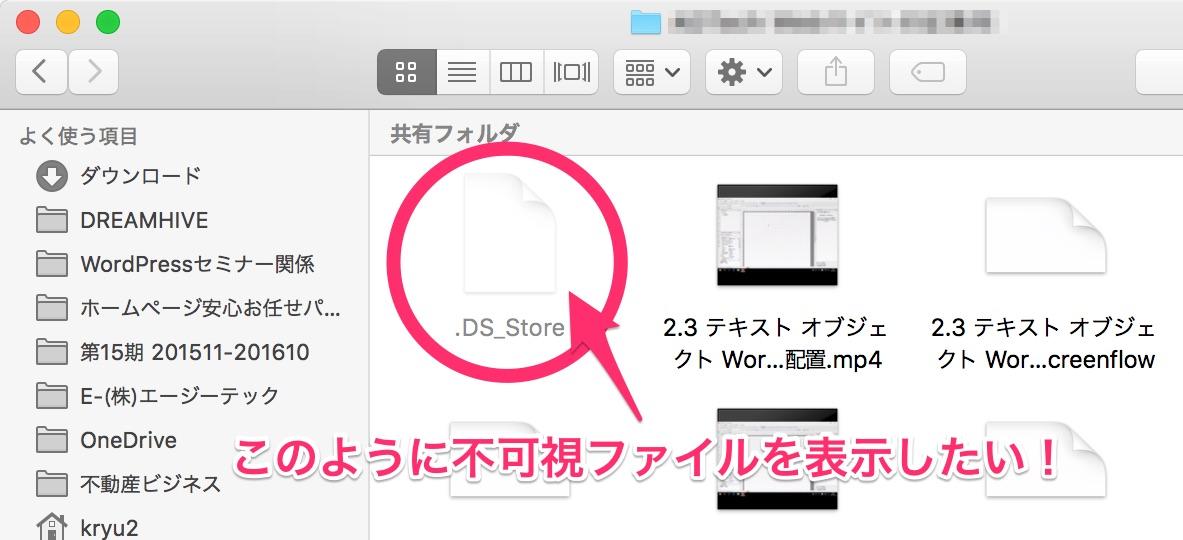 不可視ファイルの例