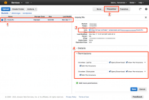 Amazon S3 Management Console での設定