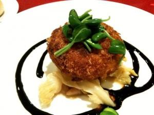 魚のクリームコロッケ バルサミコソース